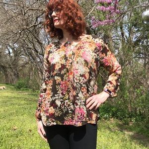 J. Jill Brown Floral Relax Fit Blouse